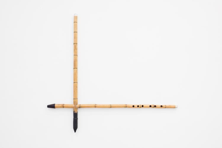 YAZID OULAB<br /> Sans titre, 2017<br /> Roseau, encre<br /> 70 x 77,5 cm<br /> &copy; galerie Eric Dupont, Paris