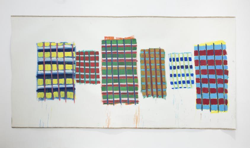 DAMIEN CABANES<br /> Six, 2019,<br /> Oil on linen<br /> 220,5 x 438,5 cm <br /> <br /> Courtesy galerie Eric Dupont, Paris
