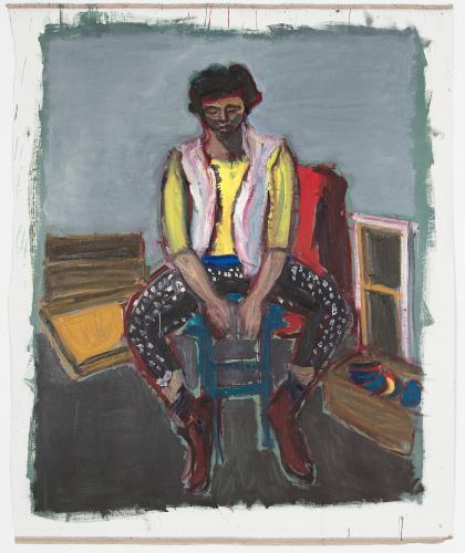 DAMIEN CABANES, Mathilde dans l'atelier, 2017, oil on canvas, 218,5 x 182 cm, courtesy gallery Eric Dupont, Paris.