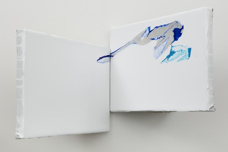 Mari Minato,Minerals series, XVI, Cyanite, 2017, left panel 25x30cm, right panel 25x30cm, offset 5cm, Photographer : Jean-François Rogeboz, © courtesy galerie Eric Dupont, Paris.