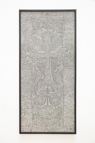 Pascal Convert<br /> Stone bark<br /> Platine-palladium contact print of a hybrid negative, the Princes Tomb, Haghpat Monastery, Armenia<br /> 96  x 209 cm. Photograph mounted on Dibond, museum glass. <br /> Edition Atelier L. Lafolie. <br /> 2018-19<br /> Edition 1/7 + 2 AP<br />