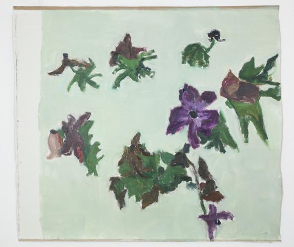 DAMIEN CABANES<br /> Anémones fannées fond vert, 2020,<br /> Oil on linen<br /> 220,5 x 250,5 cm<br /> <br /> Courtesy galerie Eric Dupont, Paris