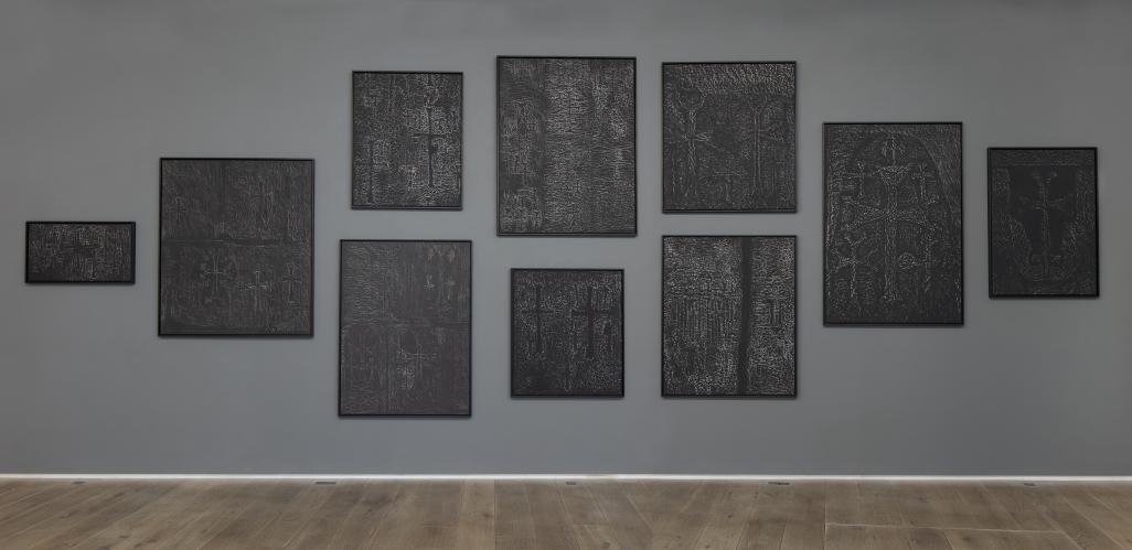 Pascal Convert, Trois arbres, Exhibition view at Eric Dupont gallery, 2019, Donator wall © galerie Eric Dupont, Paris