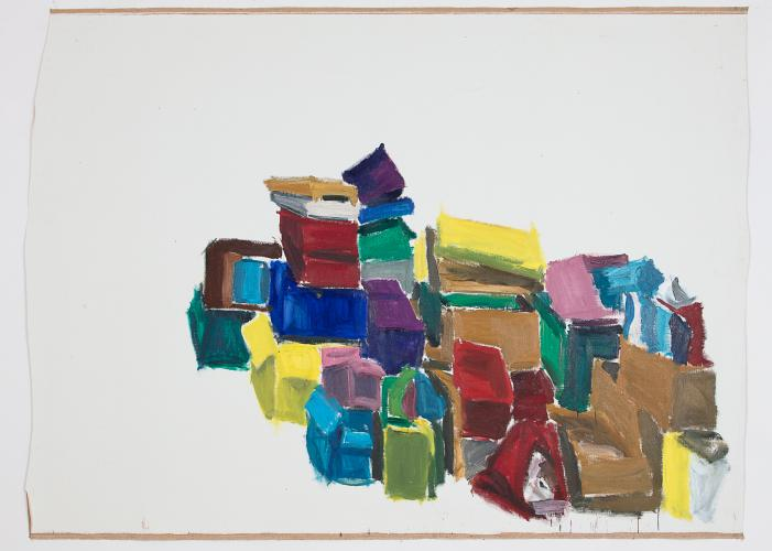 DAMIEN CABANES, Boîtes colorées fond blanc, 2018, oil on canvas, 220 x 300,5 cm, courtesy gallery Eric Dupont, Paris.