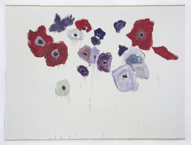 DAMIEN CABANES<br /> Anémones fond blanc n°1, 2019,<br /> Oil on linen<br /> 222 x 296 cm <br /> <br /> Courtesy galerie Eric Dupont, Paris